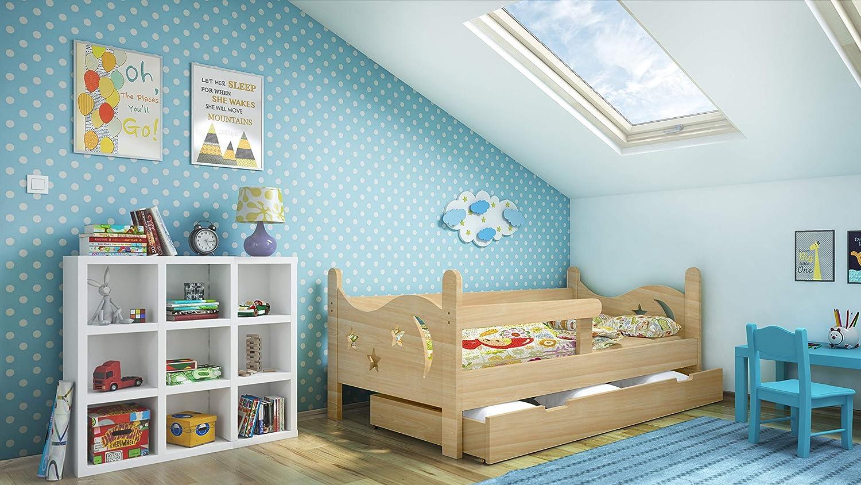 kiefer iGLOBAL KinderbettLILA Jugendbett Juniorbett Bett mit Schublade Stellage Absperrung Schaumstoffmatratze 140x70 cm