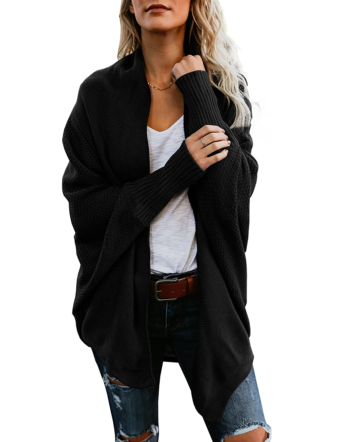 Black Mafulus Womens Cardigan Sweaters Oversized Open Front Batwing Chunky Knit Outwear