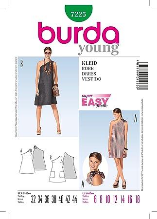 Burda schnittmuster one shoulder kleid