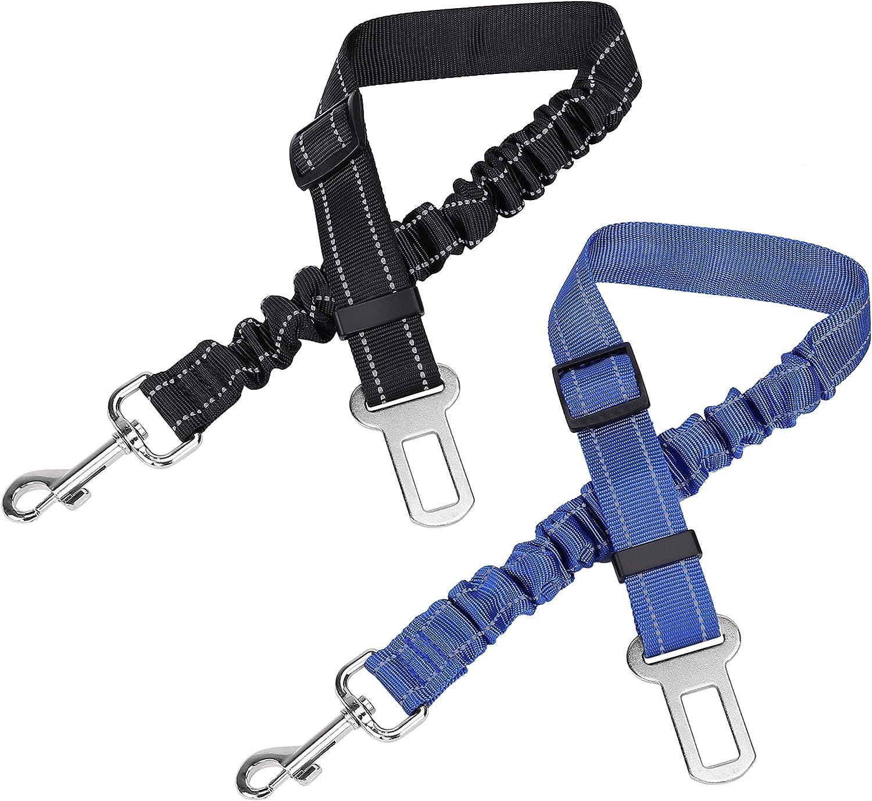 Cinturón de Seguridad de Coche para Perros Gato, 2pcs Arnés del Cinturón de Nylon Ajustable Universal para Cachorro Mascotas Trasportar Duradero Collar Lash
