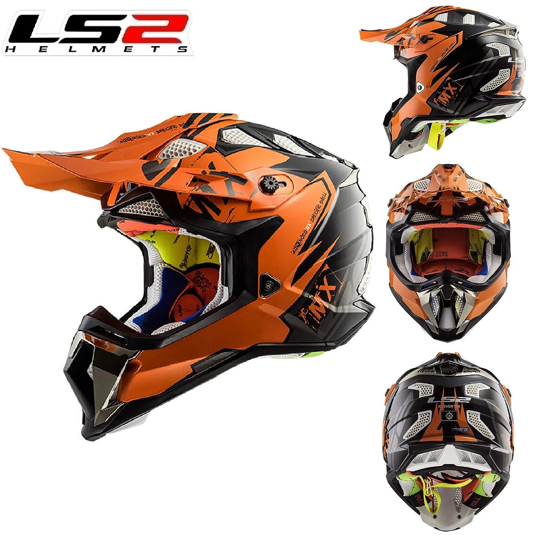 MOTORBIKE LS2 MX470 SUBVERTER MOTOCROSS HELMET EMPEROR BLACK ORANGE Motorcycle Adult Quad MX ATV Off Road Enduro Dirt Pit Bike Sports Racing Full Face ECE Certified Helmet