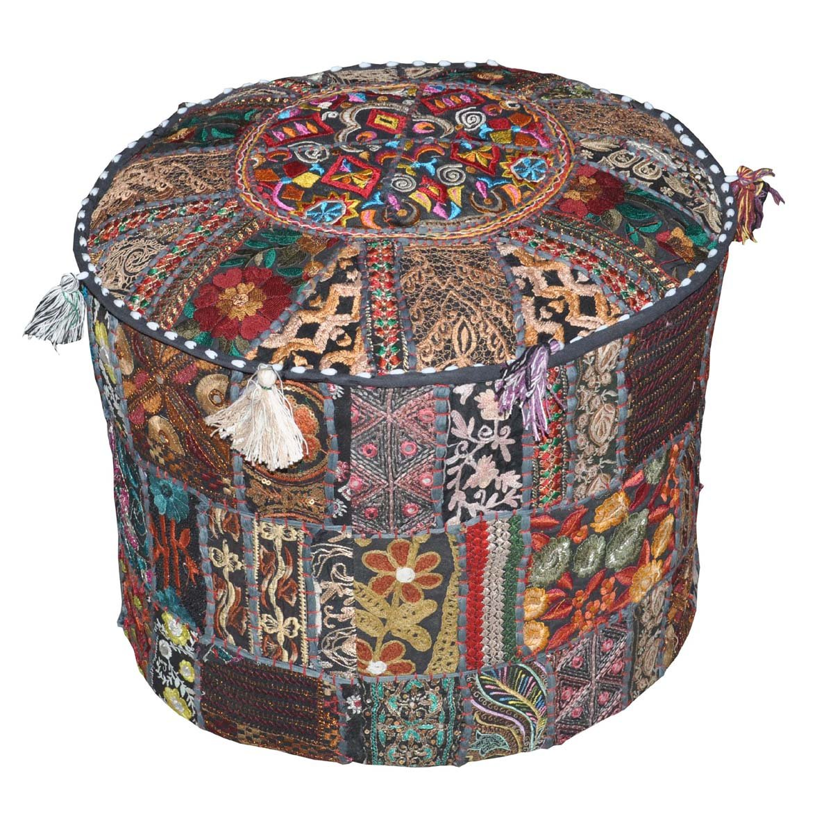 Indian Pouf Stool Vintage Patchwork Embellished With Patchwork Living Room Ottoman Cover, 18 X 13 Inches Rajasthali