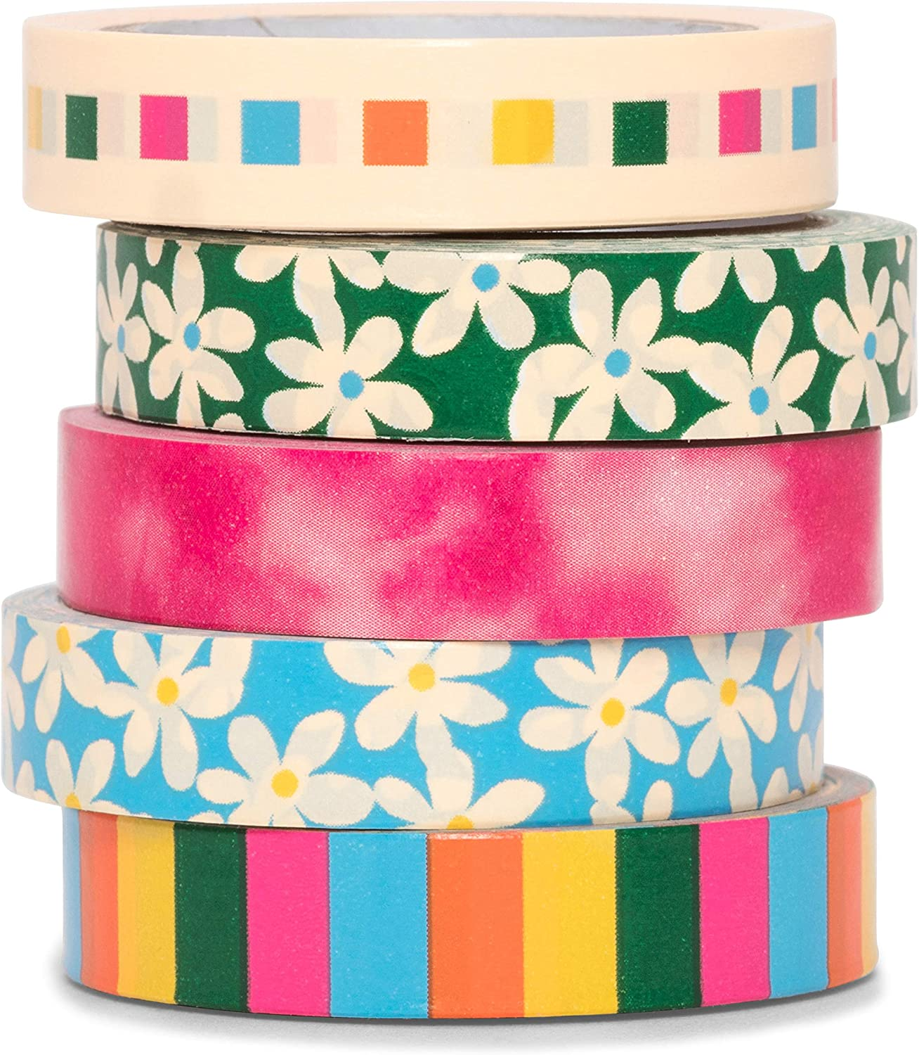 Ban.do Stick with It Paper Tape Rolls, Colored Decorative Tape Set of 5, Daisies