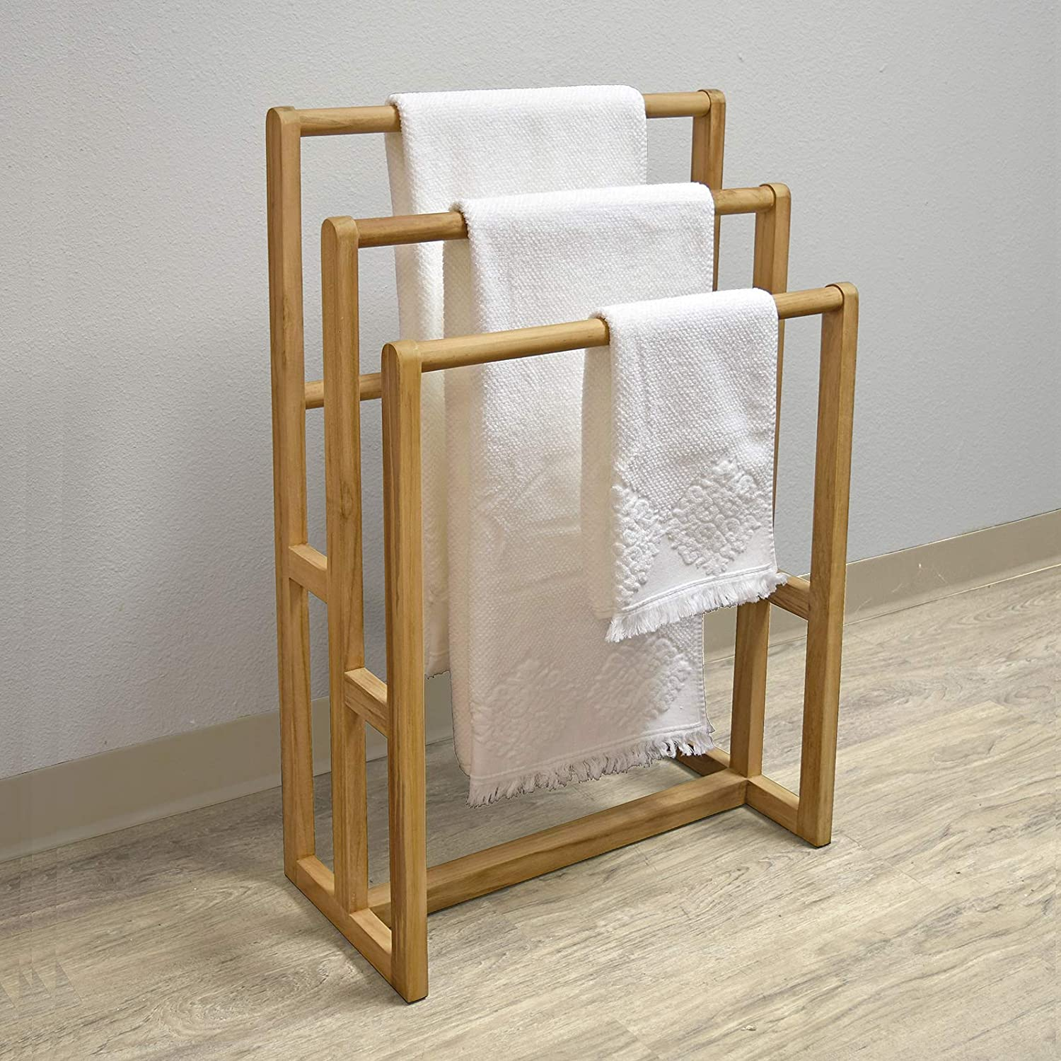 Asta Spa Teak Freestanding Towel Rack, 3-Bar, Fully Assembled