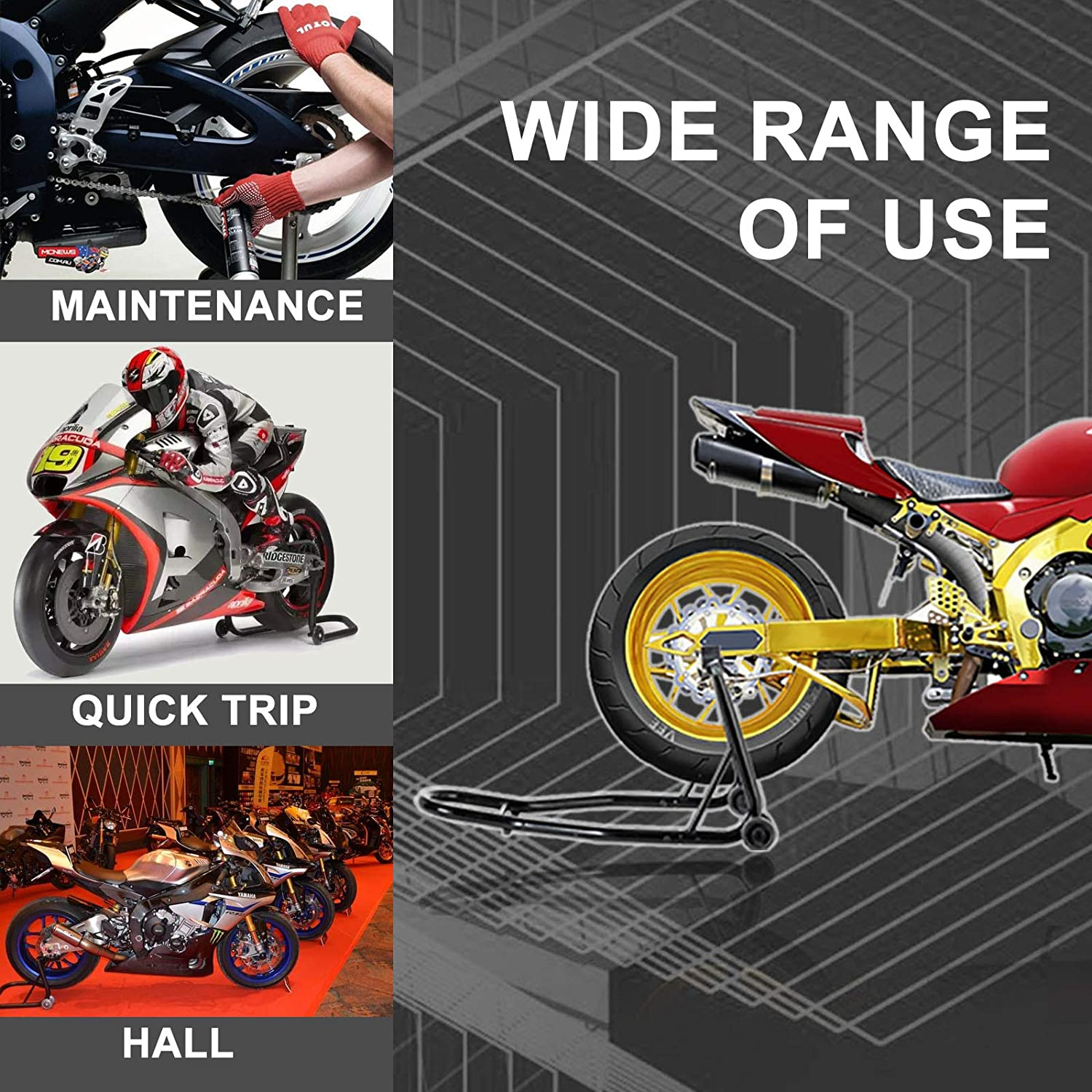 Accessories SUNCOO Pair Motorcycle Kickstand Front and Rear Wheel ...