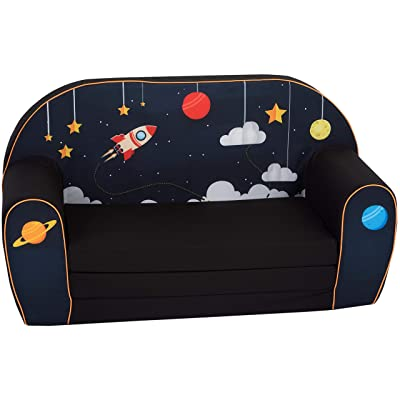 DELSIT Children's 2 in 1 Flip Open Foam Double Sofa, Children Sofa, Kids Foldable Sofa, Kids Sofa, Kids Couch - Premium Quality, European Made, Lightweight, Safe, Washable (Cosmos): Kitchen & Dining