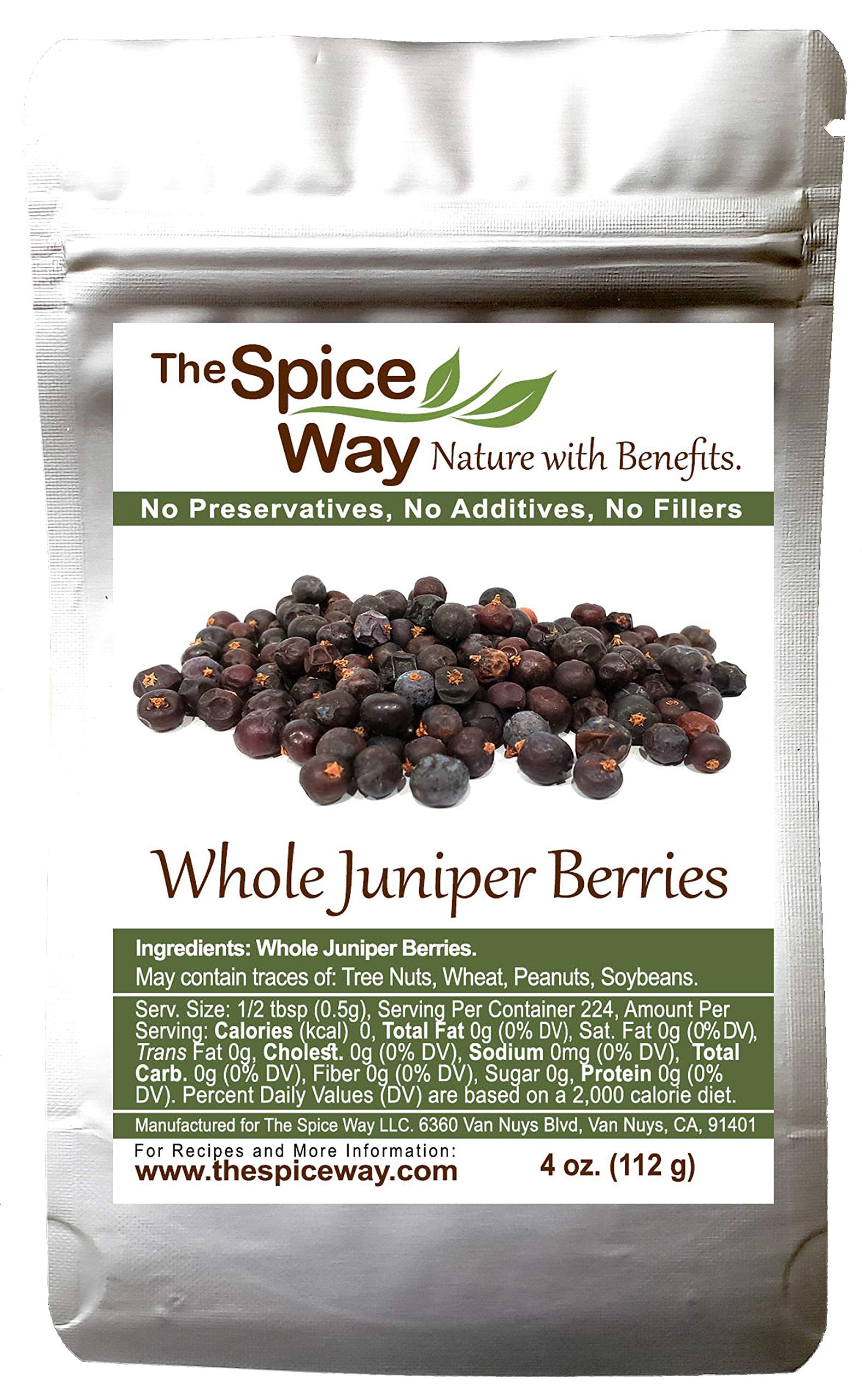 The Spice Way Juniper Berries - Whole berries, pure, no additives, Non-GMO, no preservatives, ( 4 oz ) great for cooking and for spicing tea, syrup, meat, beef, turkey, soups and more. resealable bag