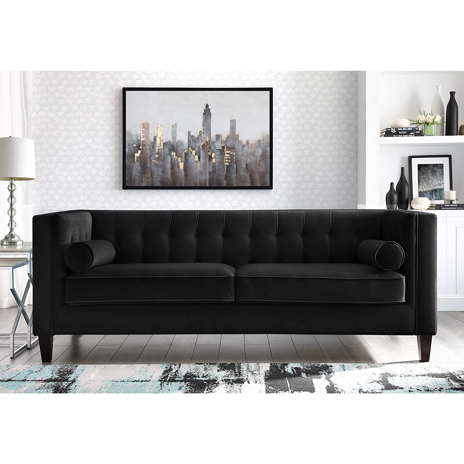 Amazon.com: Inspired Home Black Velvet Sofa - Design: Lotte | Tufted ...