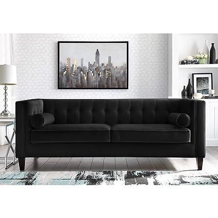 Amazon.com: Inspired Home Black Velvet Sofa - Design: Lotte | Tufted ...