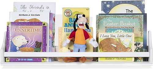 brightmaison Childrens Wall Mounted Floating Shelf White Wood Molding Design Decor