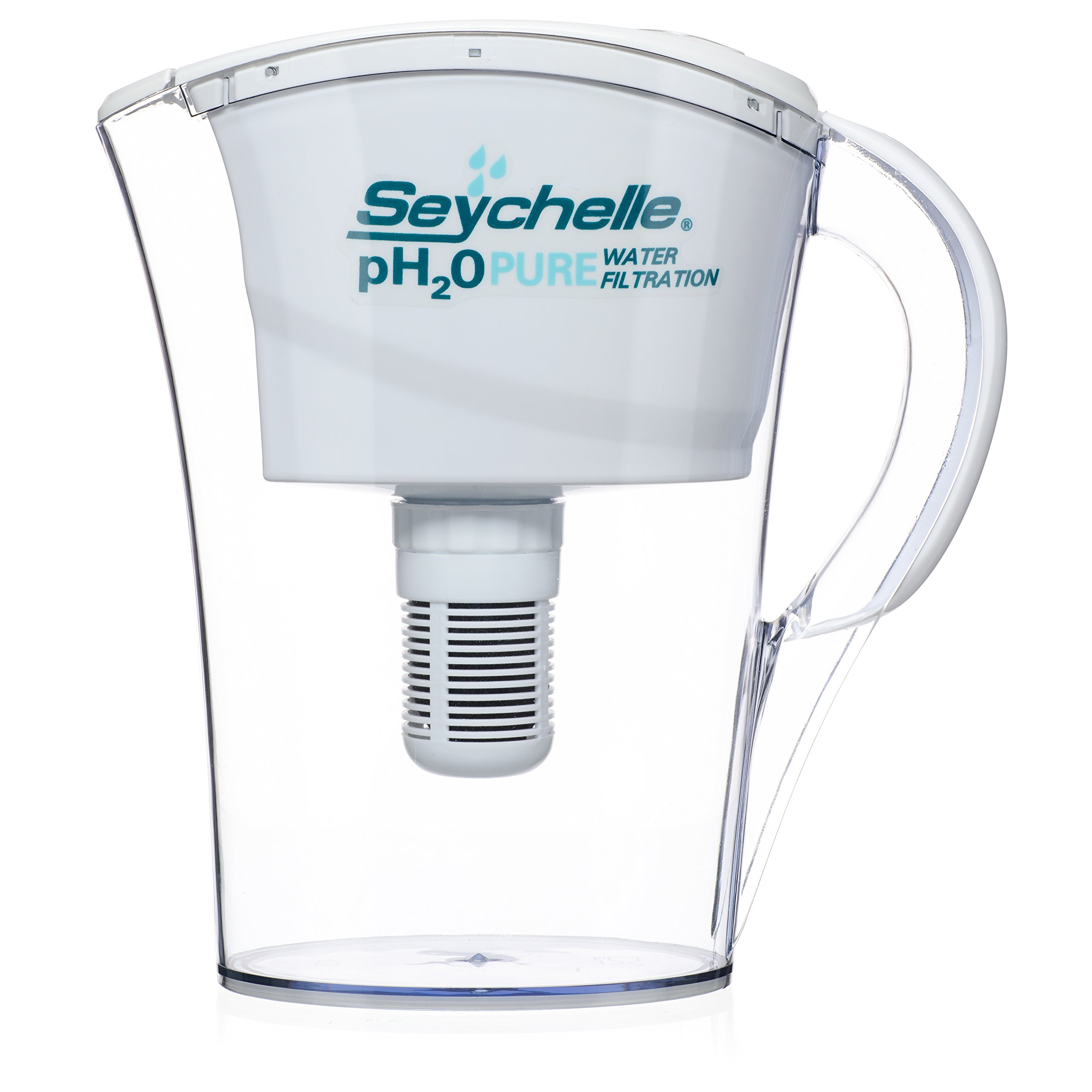 Seychelle pH2O Alkaline Water Filter Pitcher - pH Enhancing Filtration - 100 Gallon Capacity - USA-Made Filter, BPA-Free