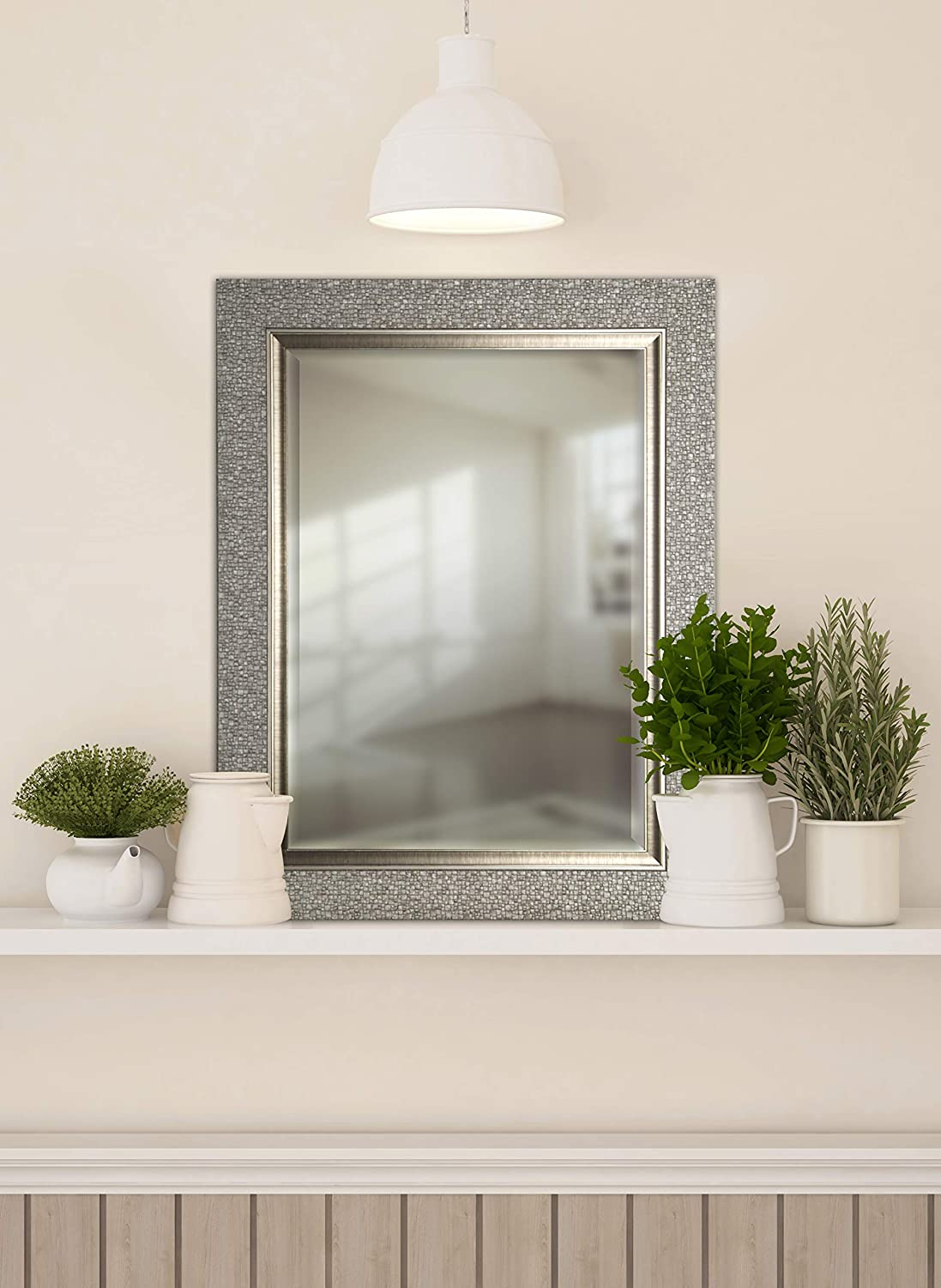 Bedroom 25.25X41.25X1.25 Silver Rectangle Mirrorize Canada Hexagon Pattern With Silver Gloss Finish Beveled Wall Mirror Large Bevelled Mirror Vanity,Hallway,Bathroom
