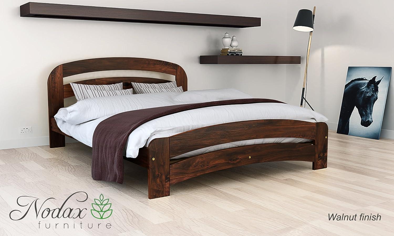 7e2aaca9ecc Nodax  Wooden Pine King Size Bed Frame F10 (UK King 150 x 200 cm Walnut  finish)  Amazon.co.uk  Kitchen   Home
