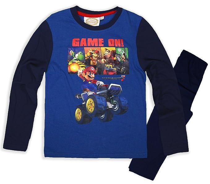 Nintendo Niños Super Mario Pijama De Manga Larga Set Azul Azul Marino 6 Años
