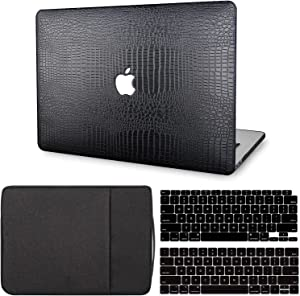 MacBook Air 13 Inch Case 2021 2020 2019 2018 Release M1 A2337 A2179 A1932 Touch ID, G JGOO MacBook Air 2020 Case, PU Leather Hard Shell Case + Laptop Sleeve + Keyboard Cover Compatible with Mac Air 13