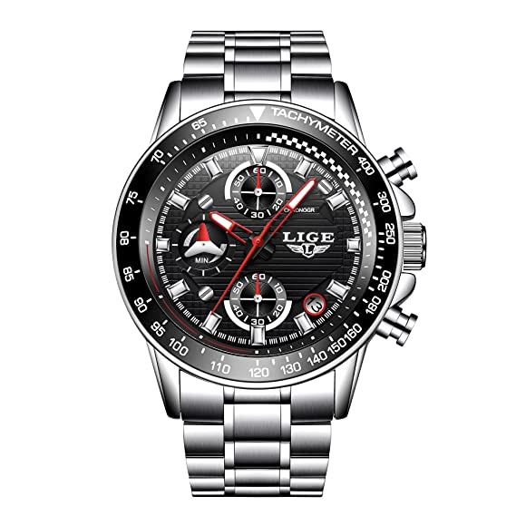 gran selección de b2b2c 1aa3c Relojes De Hombre Deportivos Clásicos Militar Especiales Marea Moda Acero  Inoxidable Plateado Lujo Calendario Analógicos Reloj De Pulsera para Hombre