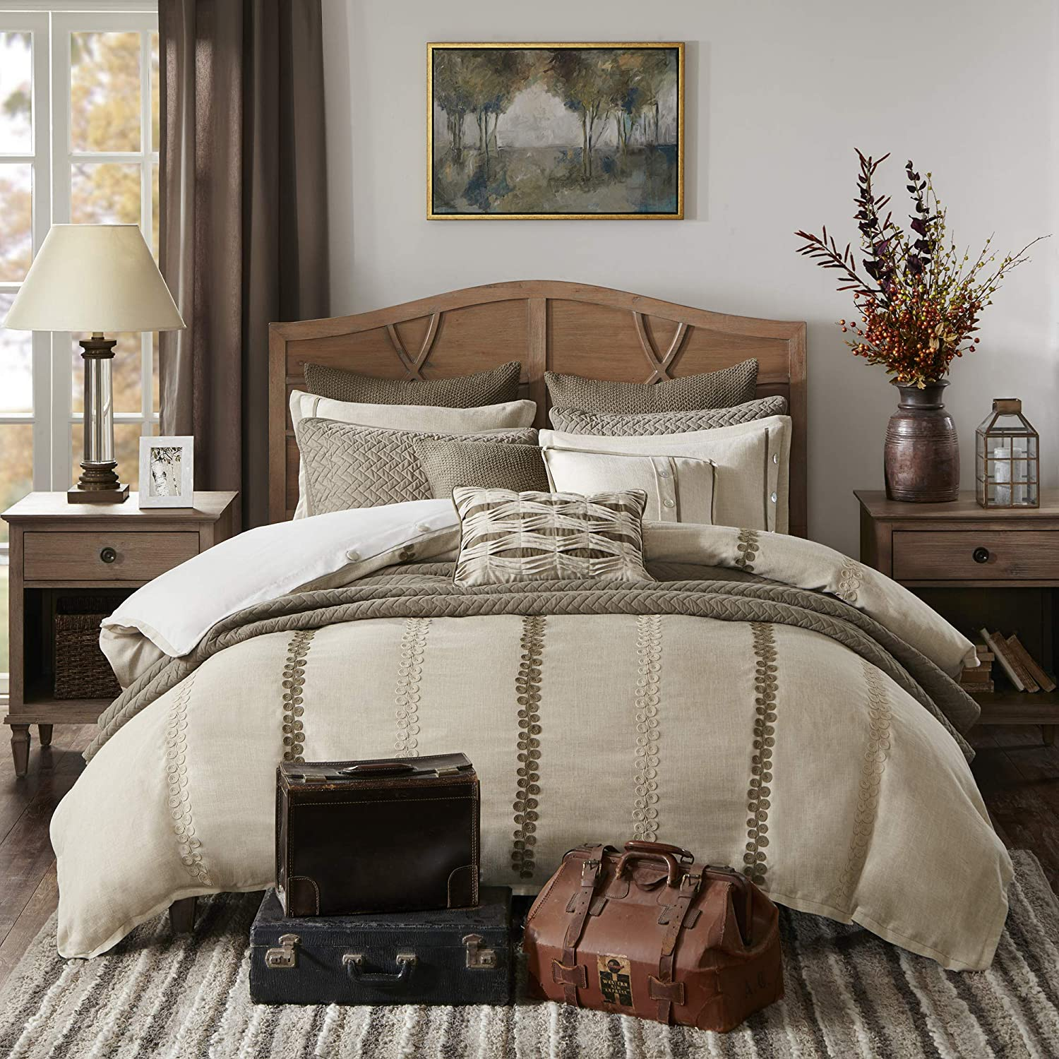 Madison Park Signature Chateau Queen Size Bed Comforter Duvet 2-In-1 Set Bed In A Bag - Taupe , Soutache Cord Embroidery – 8 Piece Bedding Sets – Faux Linen Bedroom Comforters