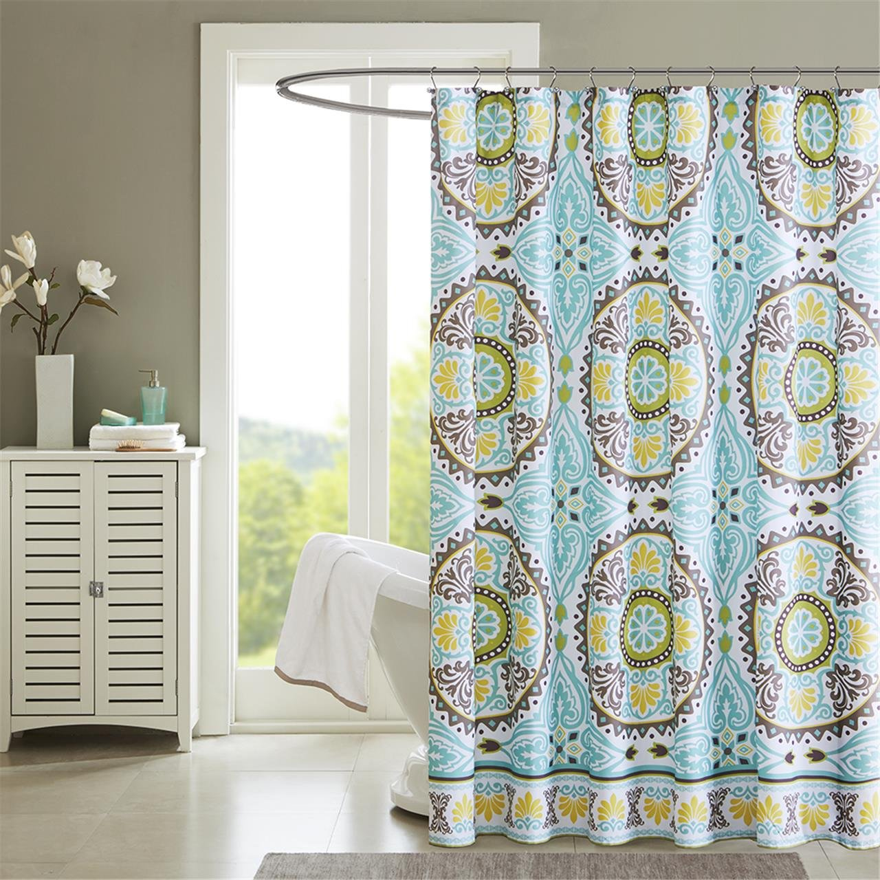 Amazon.com: Madison Park MP70-1921 Samara Shower Curtain 72x72 Aqua ...