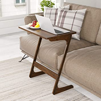 HOMFA Sofa Table End Table TV Tray Z-Shape Bamboo Snack Laptop Desk Night Stand Couch Side Table Moveable Stand in Living Room for Eating Working ...