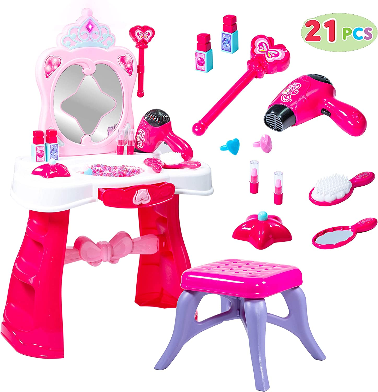 KIDS GIRLS TOP GLAMOUR BEAUTY MIRROR DRESSING TABLE MUSIC /& LIGHT PLAY TOY SET