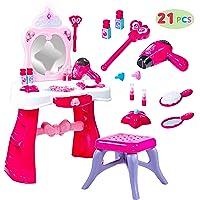 JOYIN Toddler Fantasy Vanity Beauty Dresser Table Play Set with Lights, Sounds,...