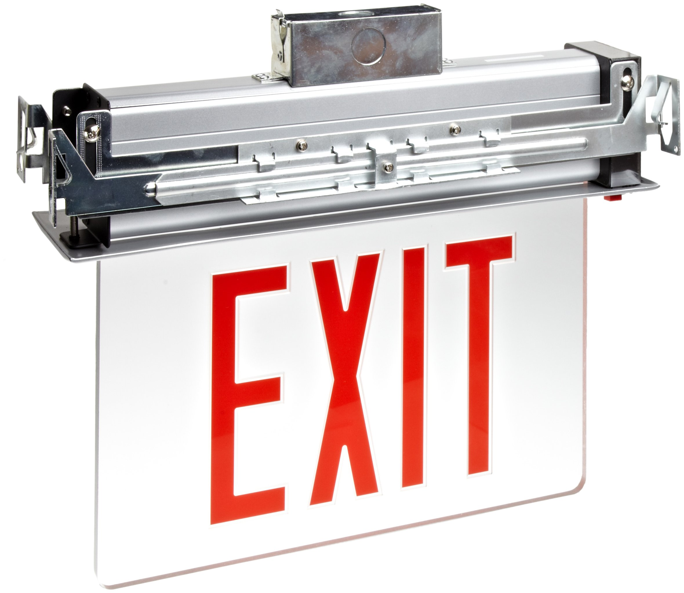 Morris Products 73330 Recessed Mount Edge Lit LED Exit Sign, Red on Clear Panel Color, Anodized Aluminum Housing