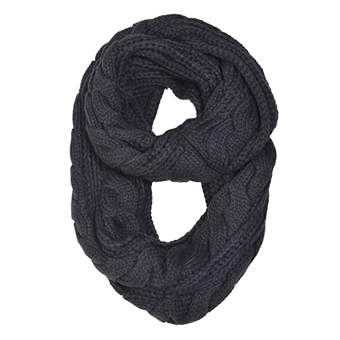 Hue21 Womens Thick Cable Knit Infinity Scarf One Size Black At