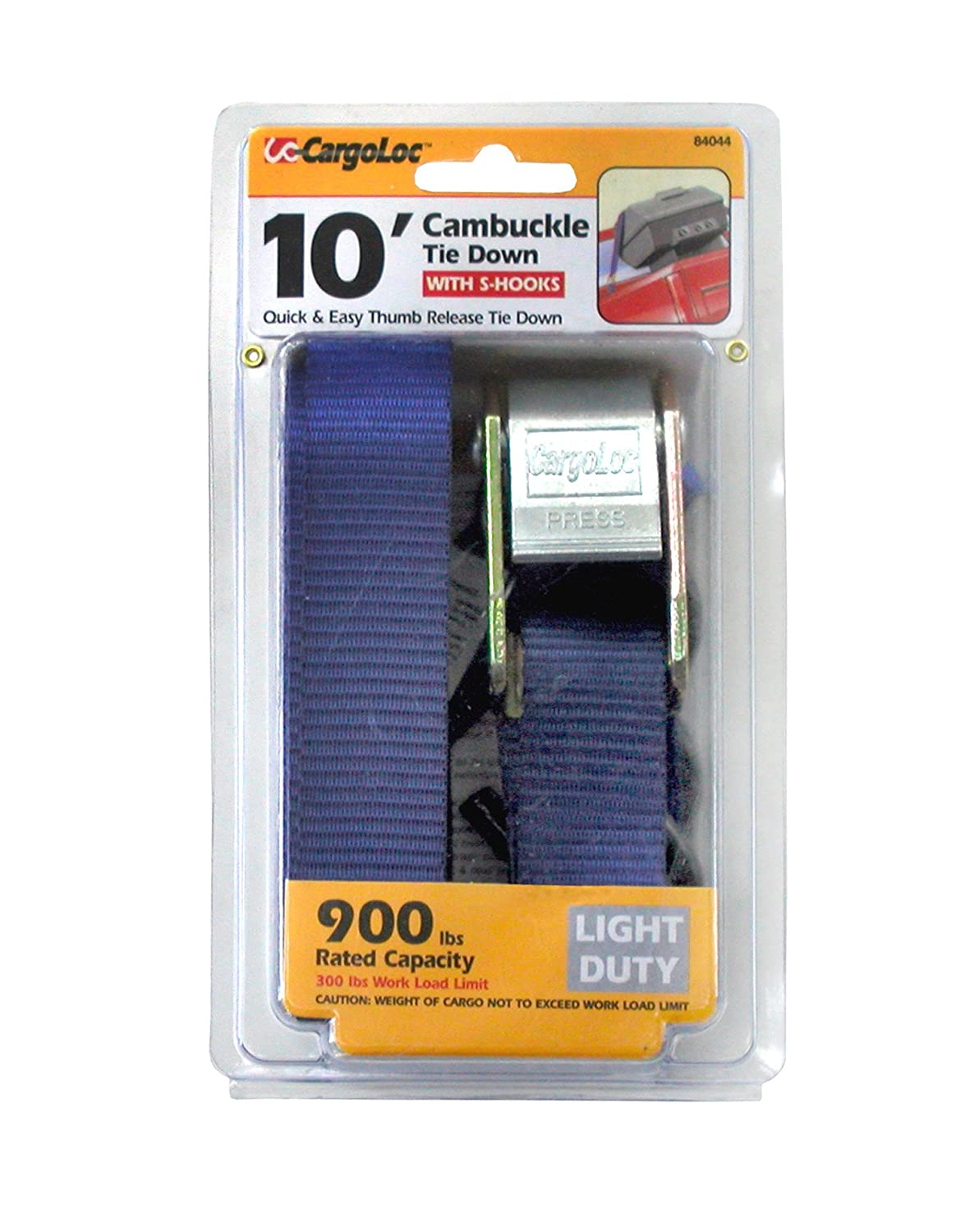 CargoLoc 84044 Cambuckle Tie Downs with S-Hooks, Compact, 1-Inch x 10-Inch
