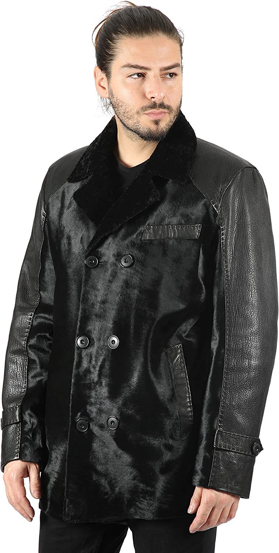 Smart Range Leather Abrigo Cruzado de Doble Botonadura para Hombre Bos Taurus Hair-on Piel de Oveja Real Collar de Piel M-46