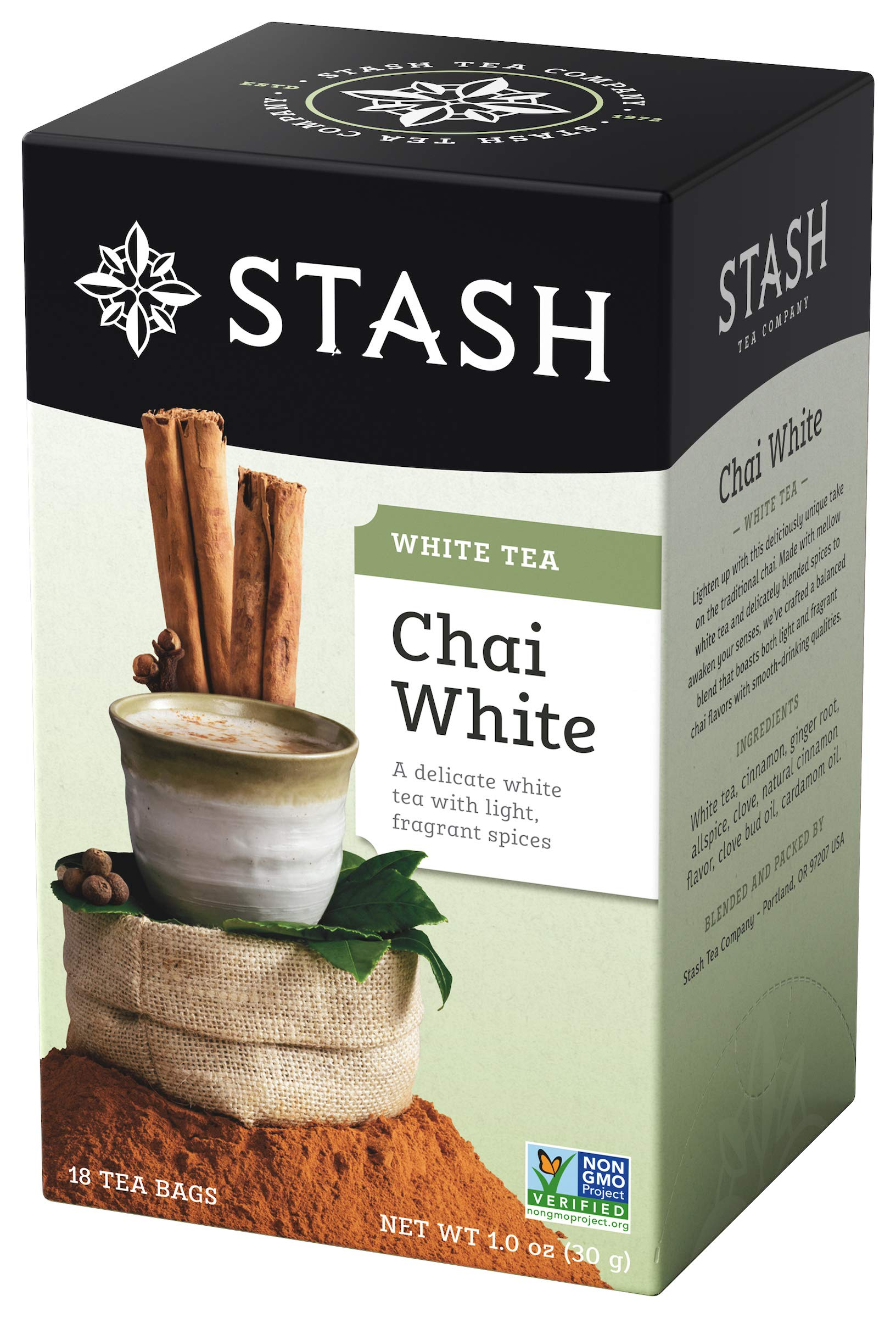 Stash Tea White Chai Tea 18 Count Tea Bags in Foil (Pack of 6) Individual Spiced White Tea Bags for Use in Teapots Mugs or Cups, Brew Hot Tea or Iced Tea