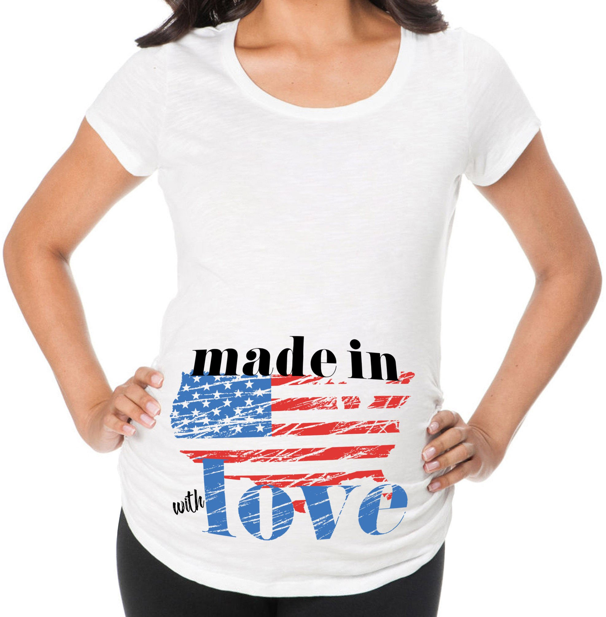 Awkward Styles Made in America with Love Cool Pregnancy Announcement Maternity T Shirt USA Flag White 2XL