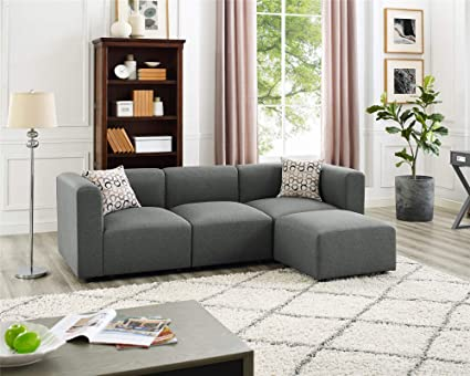 Amazon.com: Three-seat Modular Sectional Sofa with Footrest ...