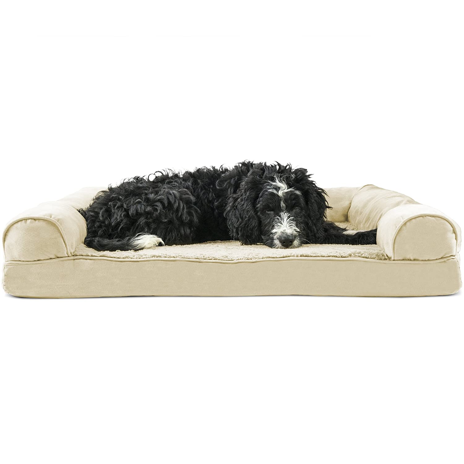 FurHaven Pet Dog Bed   Orthopedic Ultra Plush Sofa-Style Couch Pet Bed for Dogs & Cats, Clay, Large