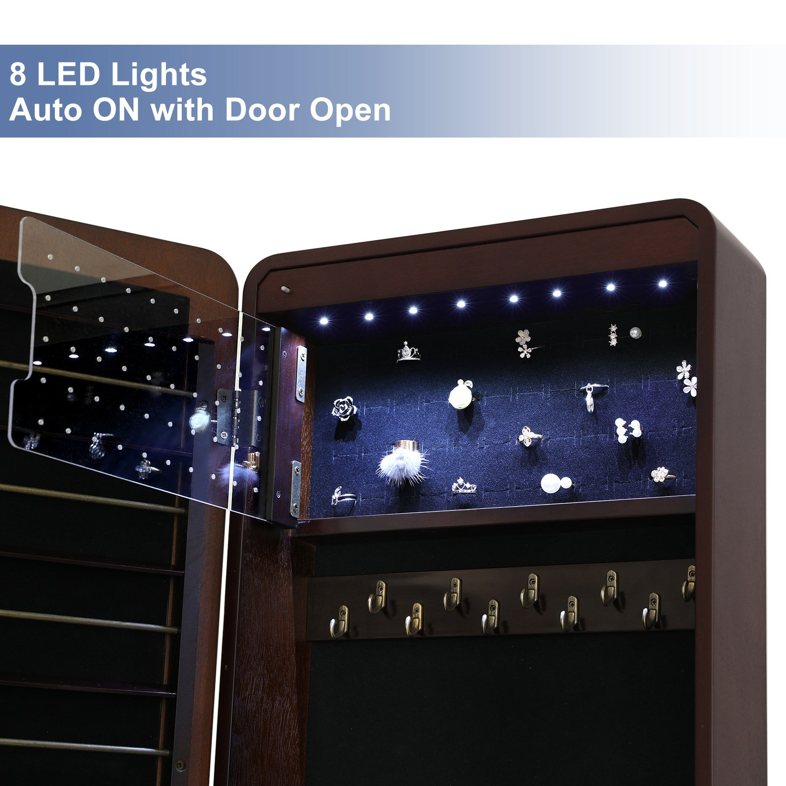 SONGMICS 8 LEDs Jewelry Cabinet Armoire with Beveled Edge Mirror, Gorgeous Jewelry Organizer Large Capacity Brown Patented UJJC89K by SONGMICS (Image #4)