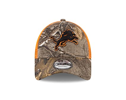 Image Unavailable. Image not available for. Color  New Era Detroit Lions  Real Tree Trucker Orange Mesh 9Forty Adjustable hat ... 5fe4cb24cfab