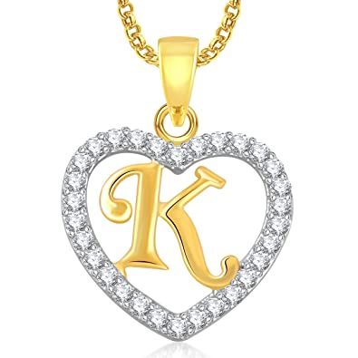 Meenaz Gold Plated U0027Ku0027 Letter Heart Pendant Locket Alphabet With Chain In  American Diamond