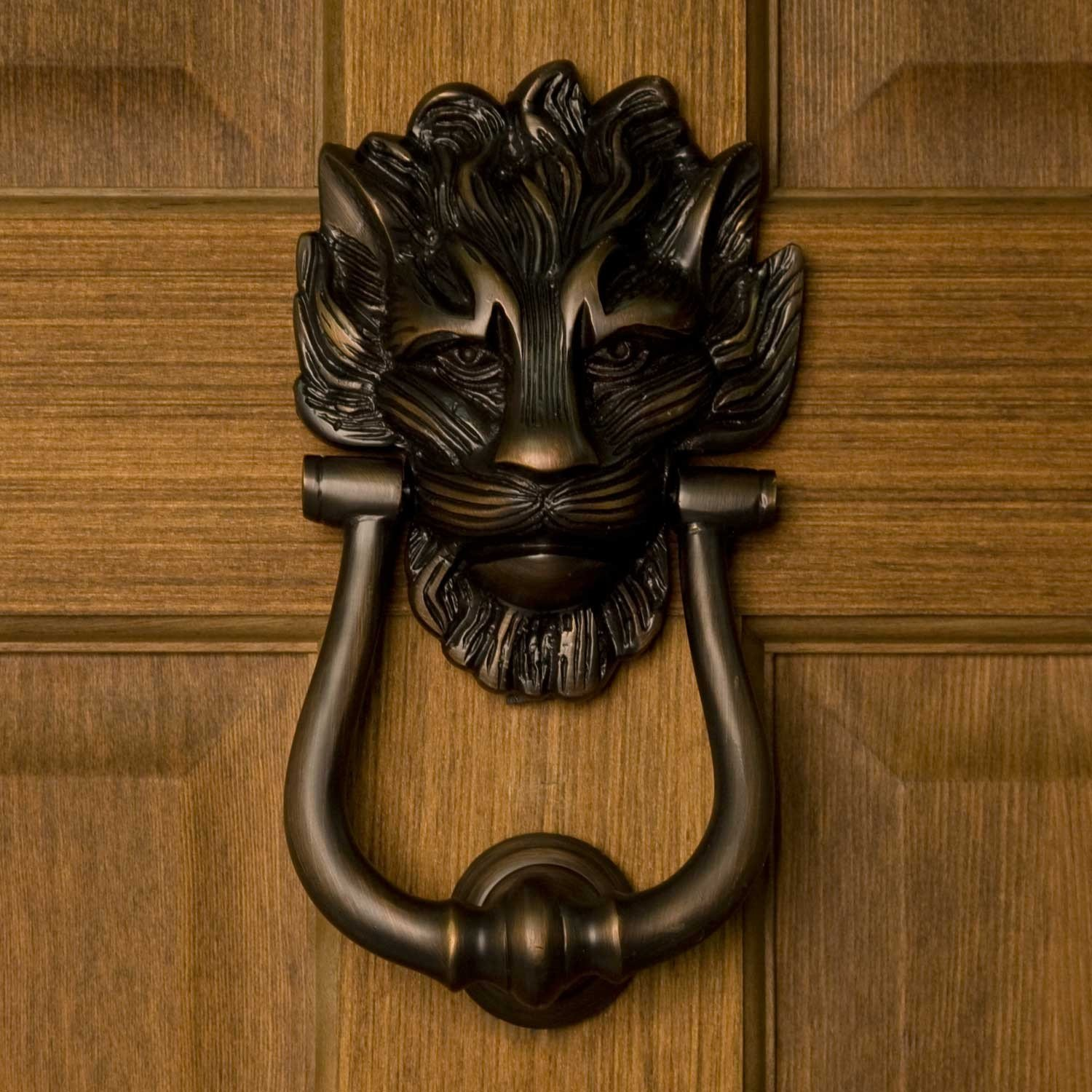 Naiture Brass Large Lion's Head Door Knocker In Oil Rubbed Bronze Finish