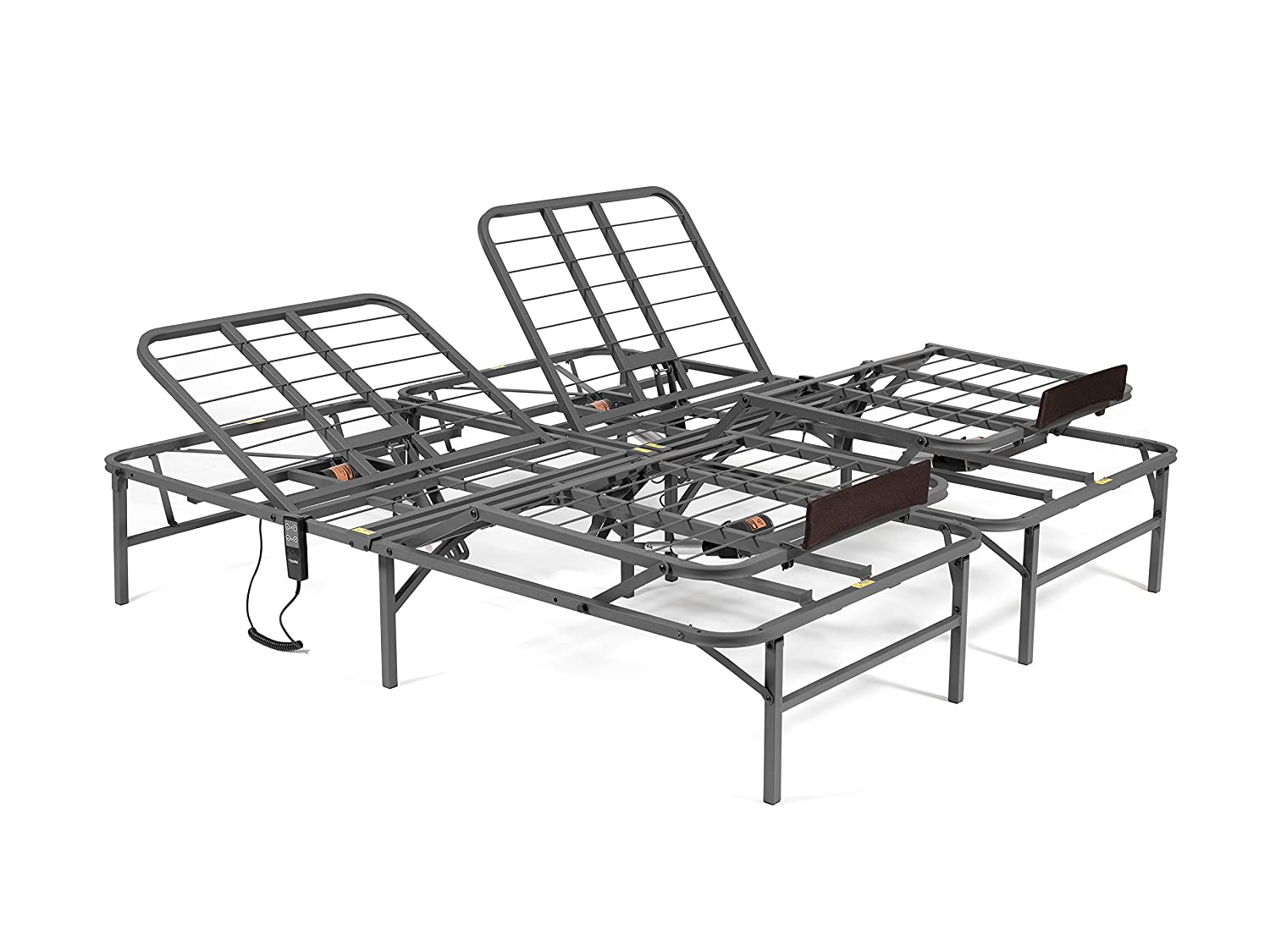 PragmaBed Pragmatic Adjustable Bed Frame, Head and Foot, California King, Gray