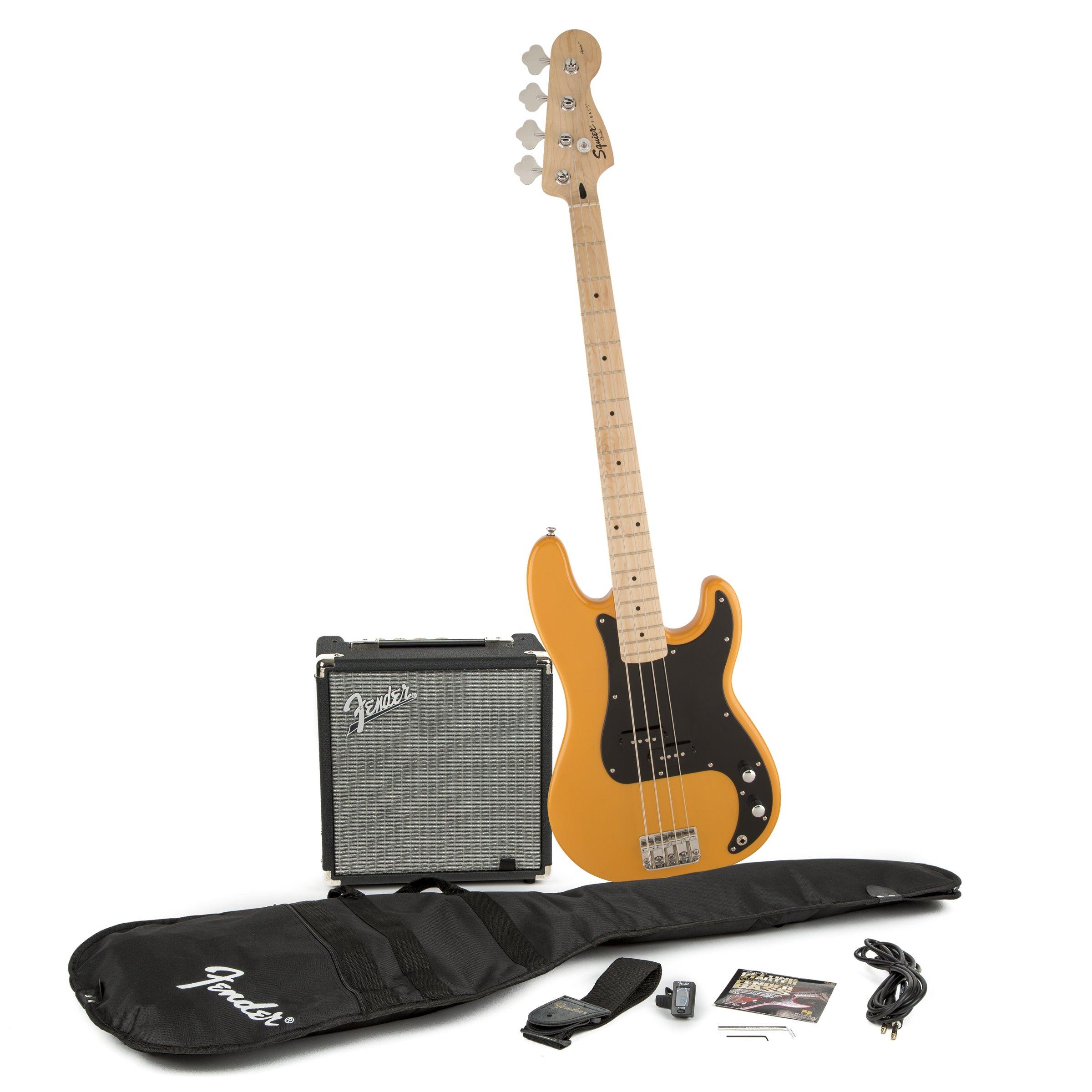 Squier by Fender P Bass Beginner Guitar Pack, Butterscotch Blonde by Fender