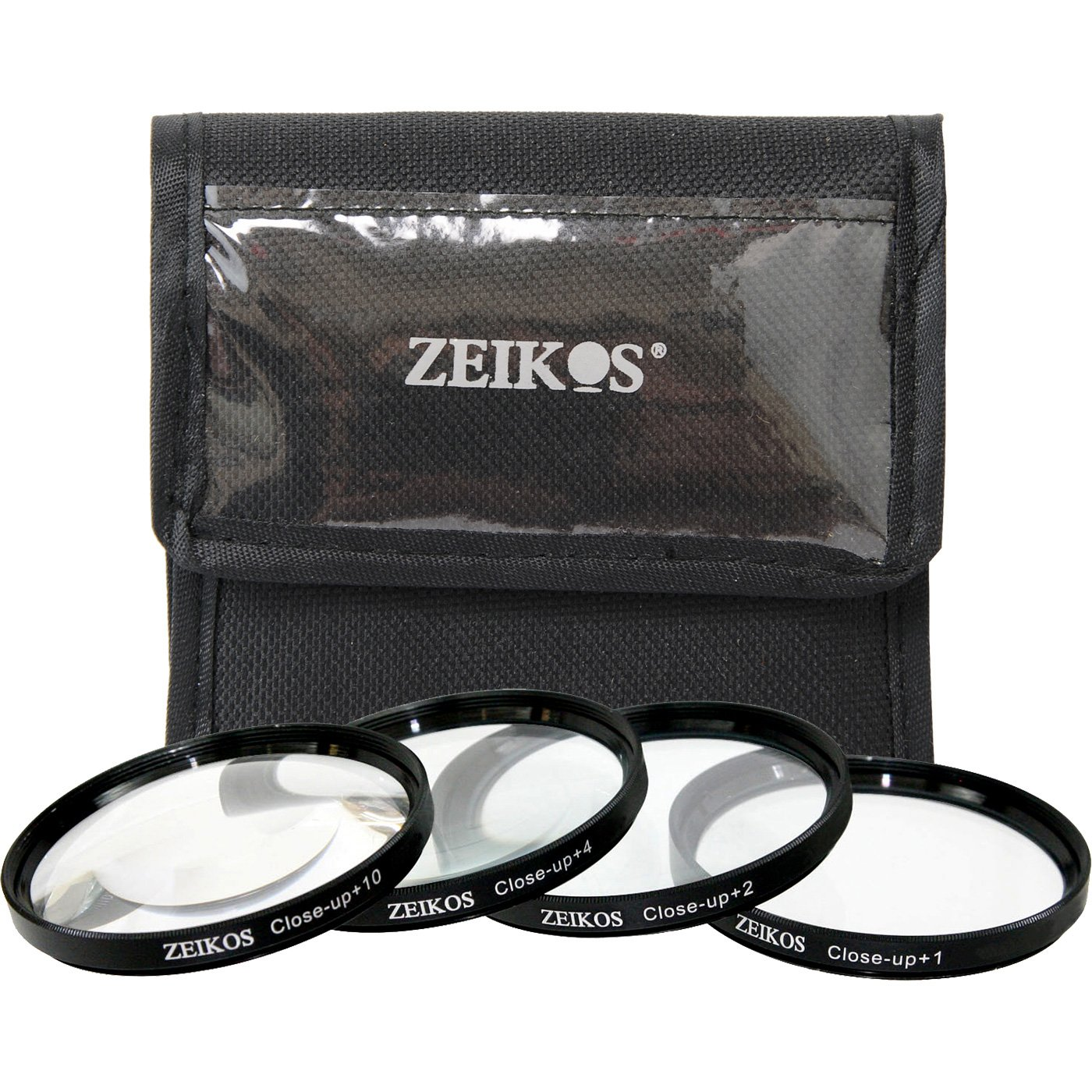 Zeikos 52mm 4 Piece High Definition Close-Up Filter Set, 1, 2, 4 and +10 Diopters Magnification Kit - Metal Rim, Includes Deluxe Case ZE-CU452