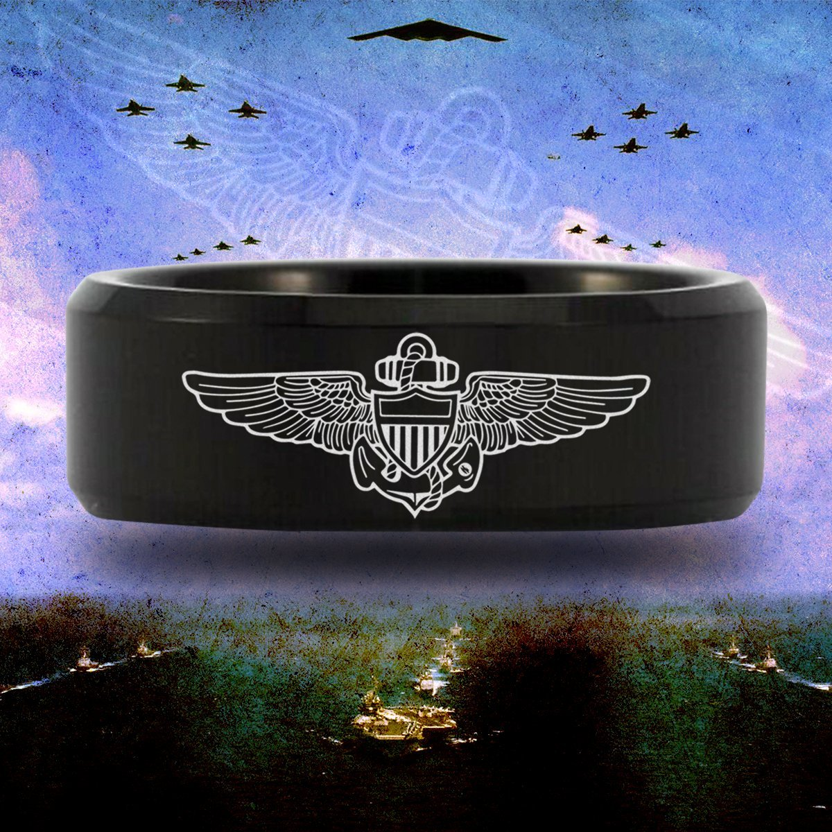 Friends of Irony Tungsten Carbide Naval Aviator Ring Fine Jewelry Designed Fit for Men and Women Use Wedding Band and Anniversary Ring Inspired by Passion and Profession