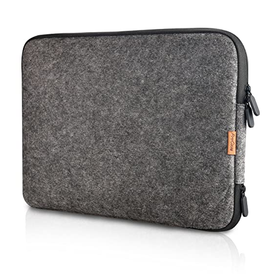 """Pro Case 12 Inch Felt Laptop Sleeve Case Bag For Surface Pro 6 / Surface Pro 2017/ Surface Pro 4 3, Apple Mac Book And Most 11\"""" 12\"""" Chromebook Ultrabook Notebook –Black by Pro Case"""