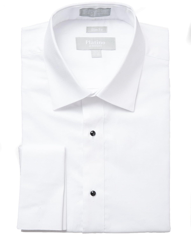 Platino Men's Formal Textured Slim Fit French Cuff Laydown Collar 100% Cotton Tuxedo Shirt 1700SL