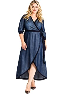 4d15c5c9f6c Standards   Practices Plus Size Women s Denim Tencel Tulip Hem Wrap Maxi  Dress