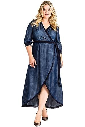 fe5fd5f1db7 Standards   Practices Plus Size Women s Denim Tencel Tulip Hem Wrap Maxi  Dress ...