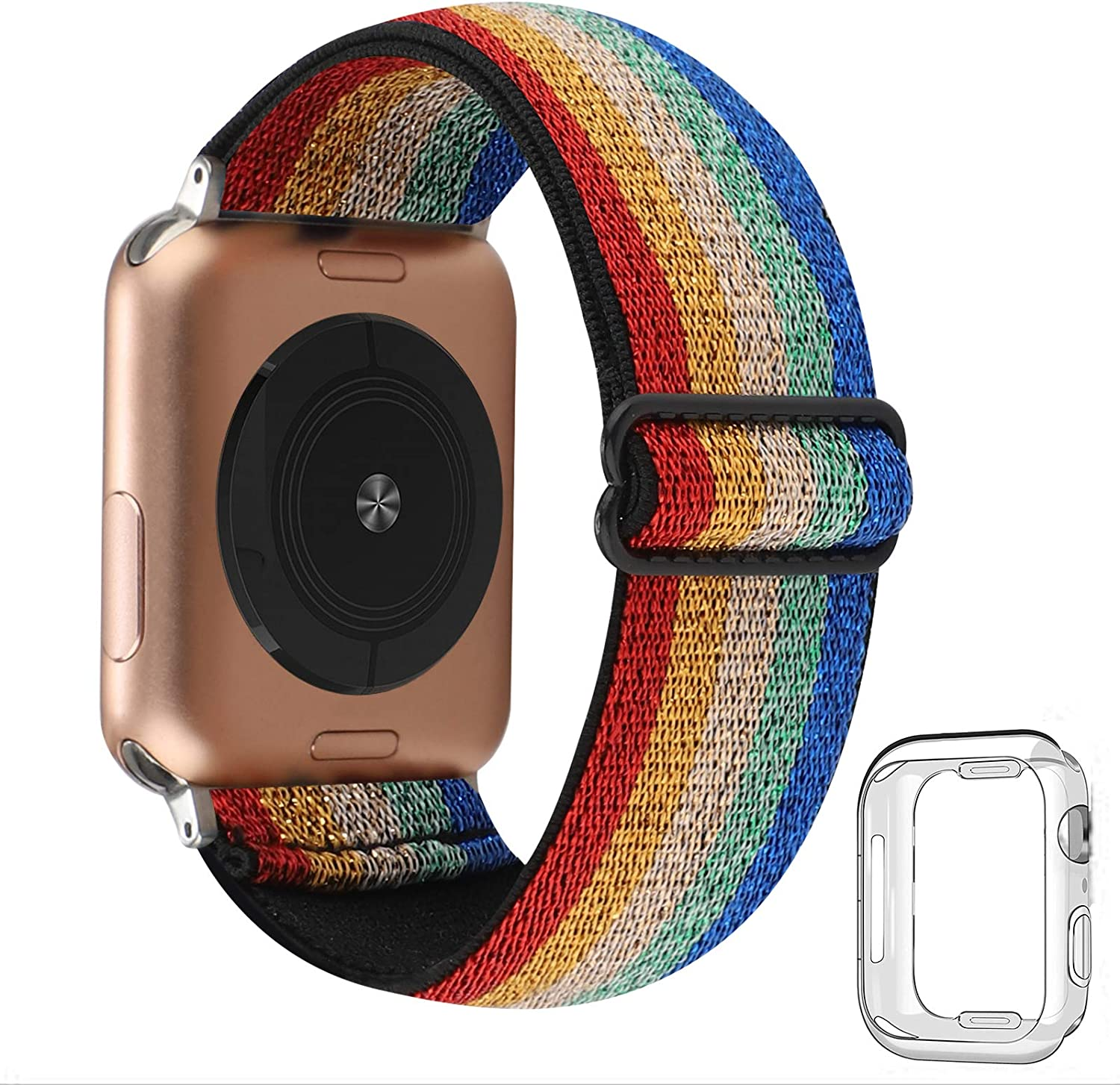 Adjustable Stretchy Solo Loop Nylon Strap Compatible with Apple Watch Elastic Band 38mm 40mm iWatch Series SE/6/5/4/3/2/1 (Colorful Stripe with Series 6/5/4 Clear Case, 38mm/40mm)