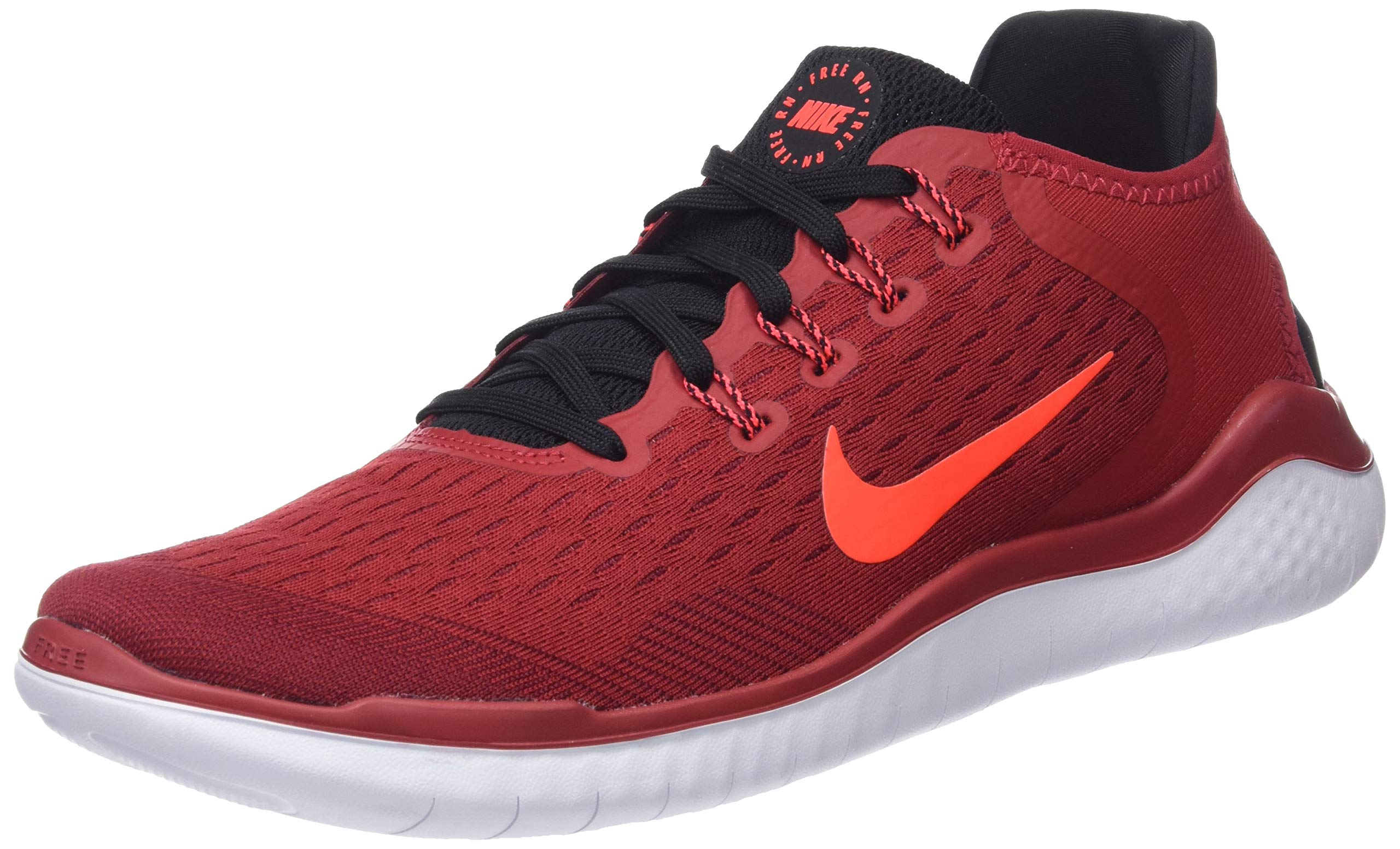 Nike Men's Free RN 2018 Running Shoes (6.5, Red/Black)