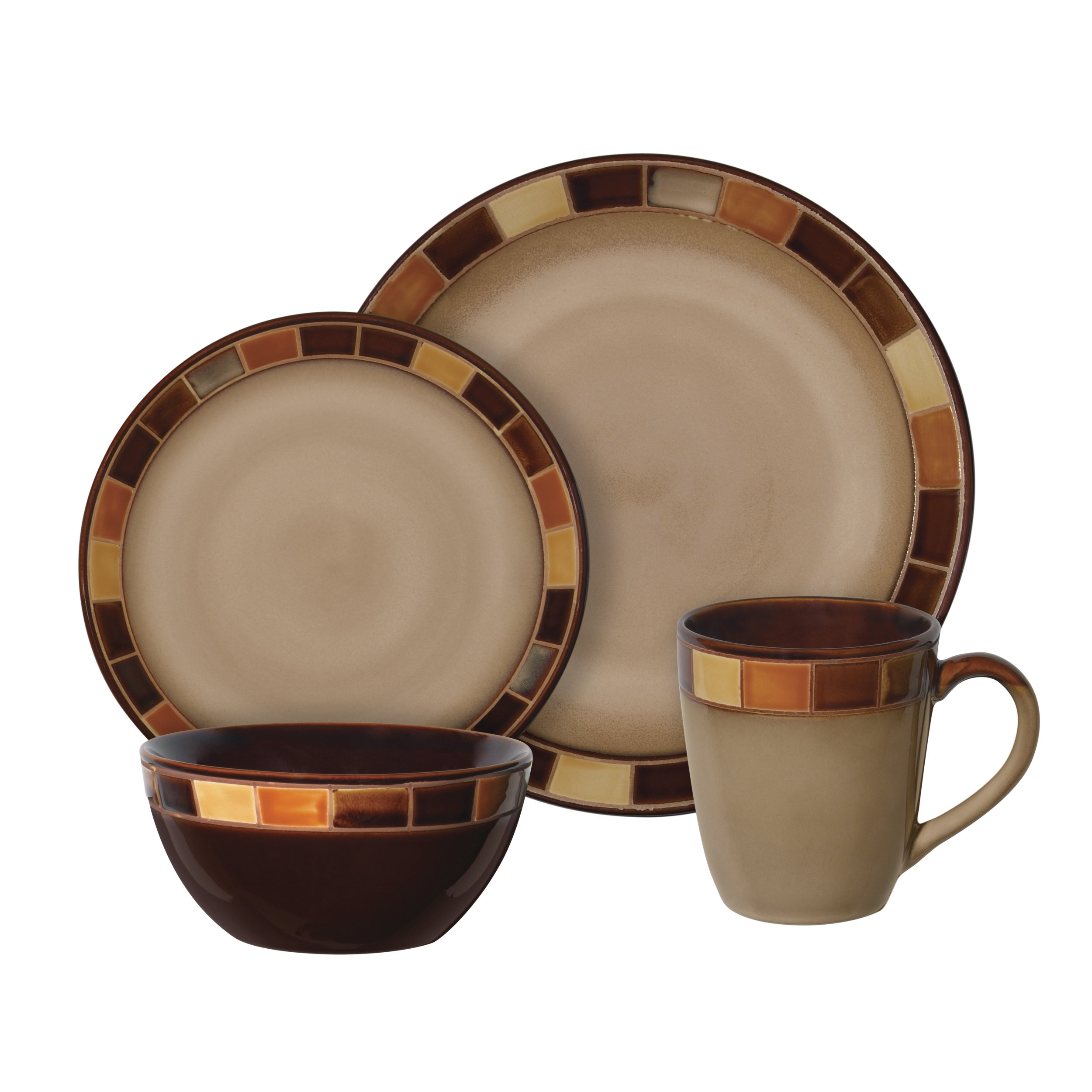 Gibson 70736.16RM Casa Estebana 16-piece Dinnerware Set Service for 4, Beige and Brown by Gibson (Image #2)