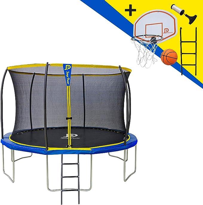 JUMP POWER - Cama elástica con Escalera y Cesta de Baloncesto, diámetro 366 cm, Unisex, Color Amarillo y Azul, diámetro: Amazon.es: Deportes y aire libre
