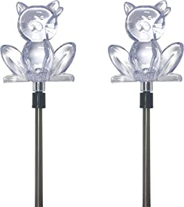 Solar Powered Cat Garden Stake Outdoor Color Change Lights (Set of 2)